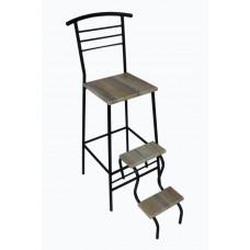 Барный стул стремянка (стул лестница) Черный/ Дуб сонома