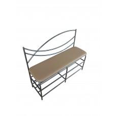 Банкетка металлическая с мягким сиденьем 100 см экокожа