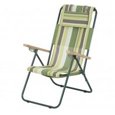 Кресло-шезлонг «Ясень» d20 мм (текстилен зеленая полоса)