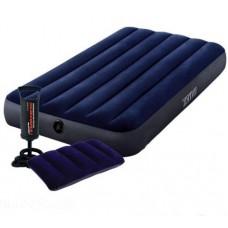 Односпальный надувной матрас Intex 64757 с подушкой 68672 и насосом 68612