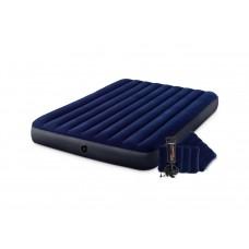 Надувной матрас Intex 64765, 152 х 203 х 25 см, с двумя подушками, насосом. Двухместный