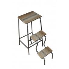 Раскладной стул-стремянка 65 см на три ступени каркас графит со ступенями дуб-сонома