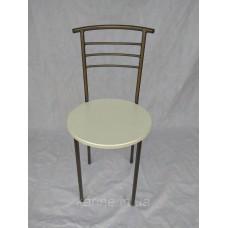 Кухонный стул Оливия каркас бронза с круглым белым сиденьем