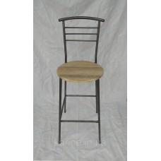 Барный стул H-73 см дуб сонома высокий со спинкой