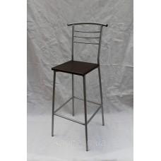 Барный стул высокий каркас хром с сиденьем венге