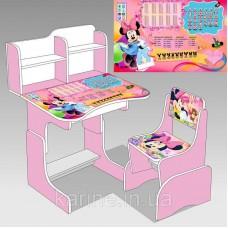 Парта растишка со стулом Минни Маус ЛДСП ПШ 016 цвет розовый