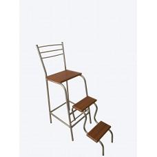 Барный стул стремянка трансформер Хром/орех