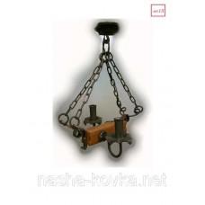 Деревянная люстра балка на 2 лампы