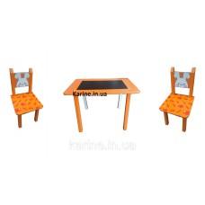 Столик Мини Зайчик с меловой поверхностью + 2 стульчика