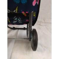 Сумка хозяйственная кравчучка на металлических колесах маленькая с бабочками со складной ручкой