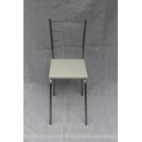 Металлический кухонный стул Марко цвет каркаса хром с квадратным сиденьем белого цвета из ламинированного мдф