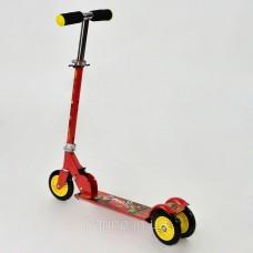 Самокат детский 466-363 красный Тачки металлический с регулируемым рулем