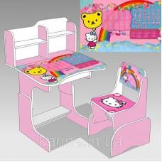 Парта школьная растишка со стулом Hello Kitty