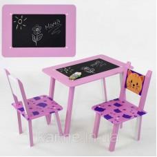 Столик Мини Котик с меловой поверхностью + 2 стульчика