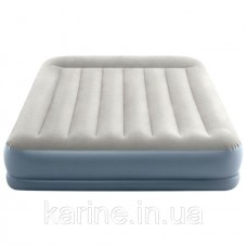 Двухспальная надувная кровать Интекс велюр 64118 со встроенным насосом (220-240В) 152*203*30 см
